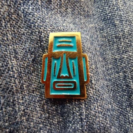 Pin Moai Blue model 1 of nickel